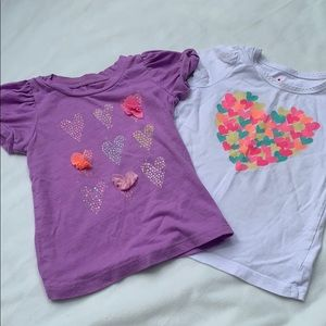 2 short sleeve shirts with hearts. Girls, size 3T